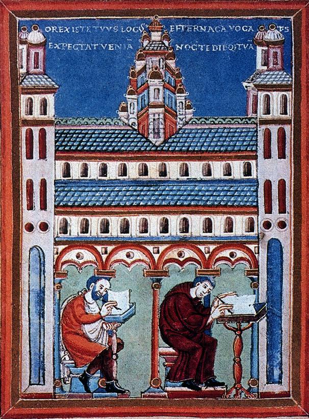Afbeelding van het scriptorium Echternach, ca. 1020 (Evangeliarium van Hendrik II, Handschrift Bremen, University Library, Ms. 216, f.o 124v)