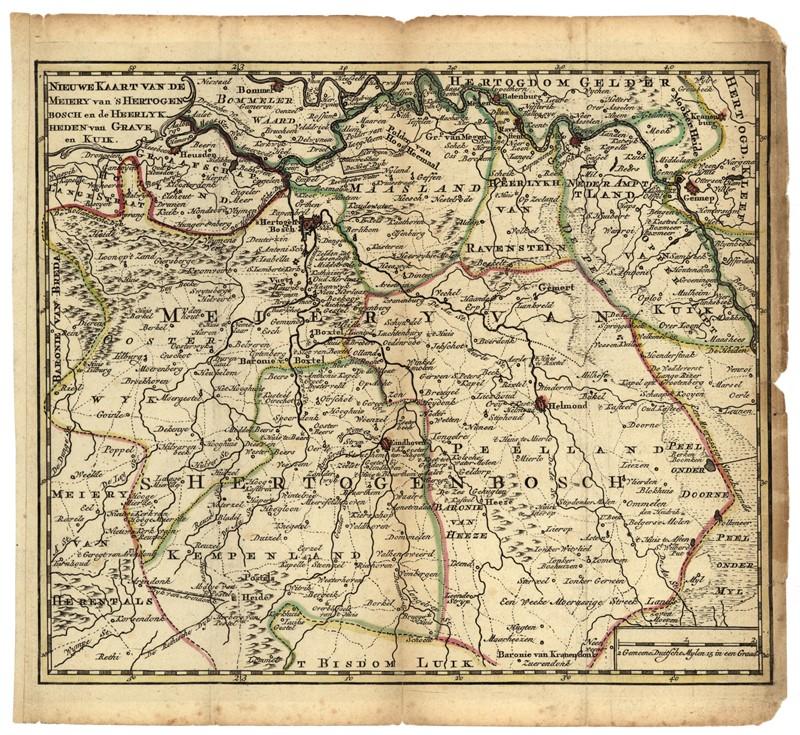 Kaart van het grondgebied van de Meijerij van 's-Hertogenbosch, datum onbekend (Afdeling Erfgoed, nr. 0000945)