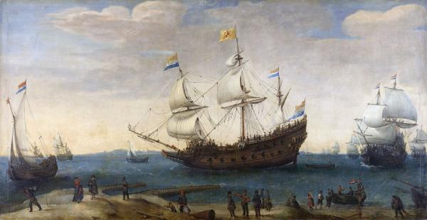 Hendrick Cornelisz Vroom, Oostindiëvaarders voor de kust, 1600-1630, Rijksmuseum