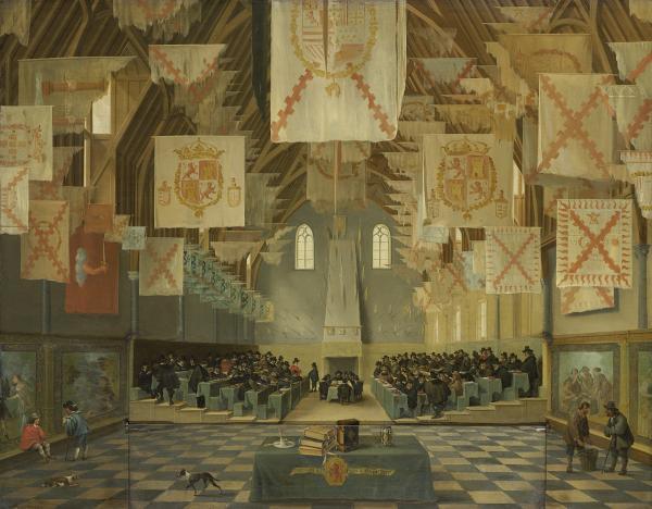 Bartholomeus van Bassen, De Ridderzaal op het Binnenhof tijdens de Grote Vergadering van 1651. Rijksmuseum Amsterdam, bruikleen Mauritshuis