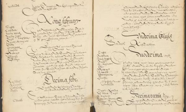 Pagina uit de resoluties van februari 1582